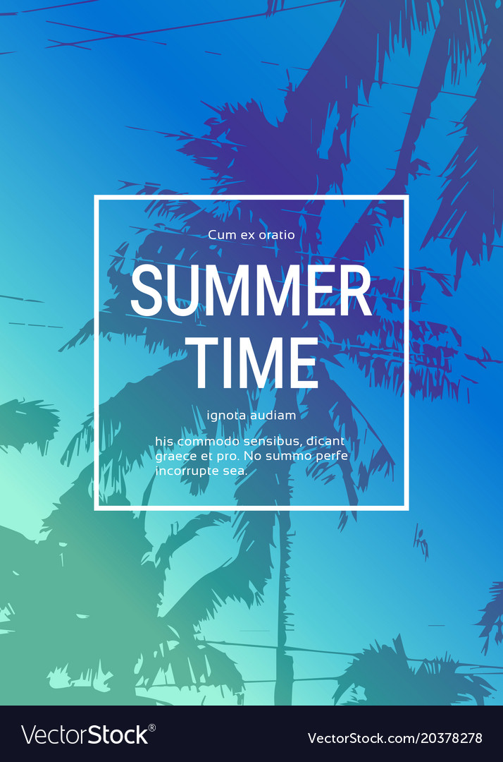 Summertime poster background with palm trees