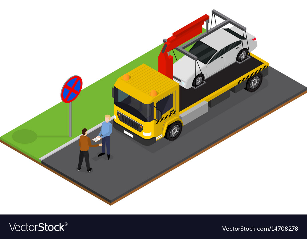 Tow truck isometric view