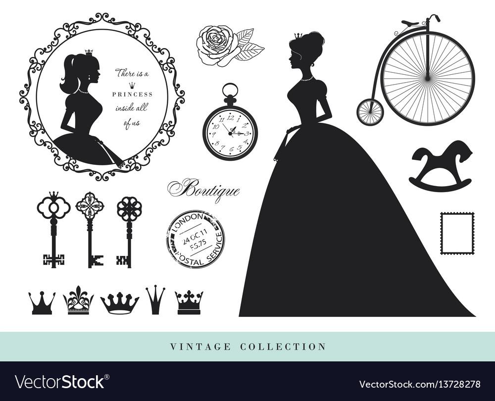 Vintage silhouettes set princesses old keys