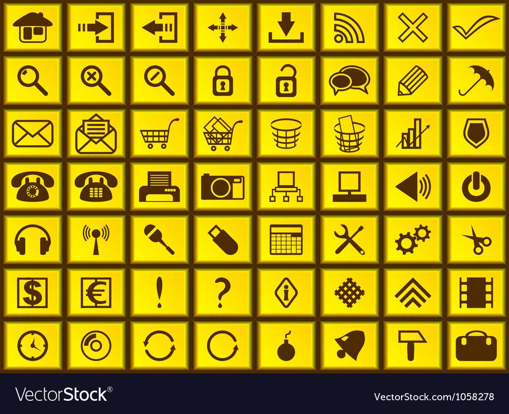 Yellow web icons vector image