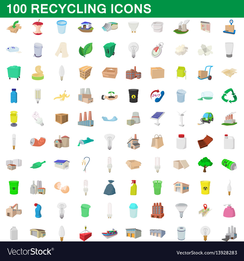 100 recycling set cartoon style