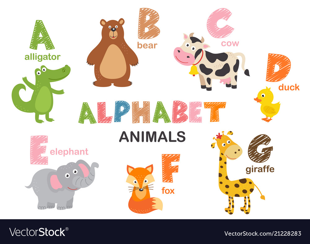 Alphabet with animals a to g