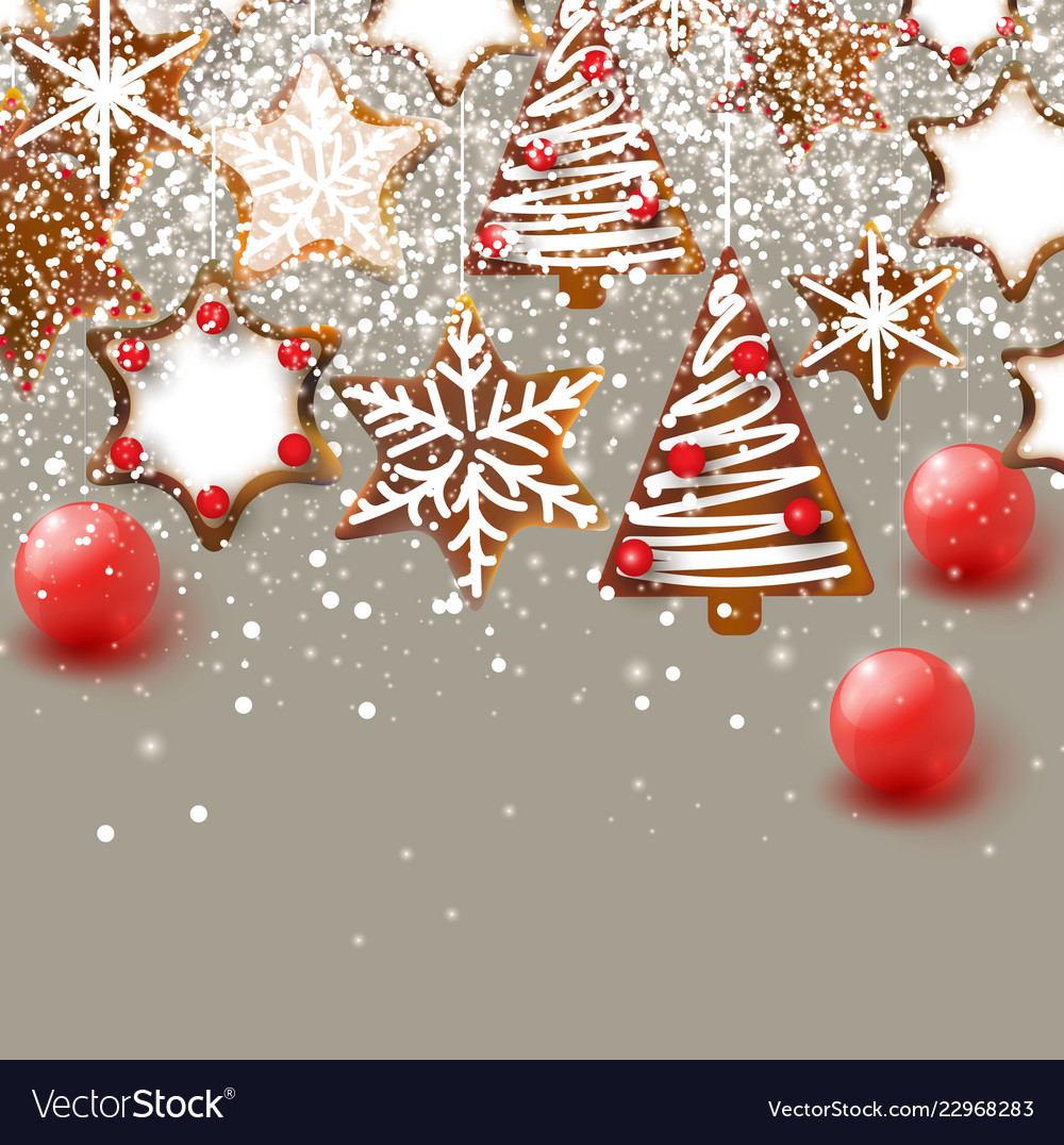 Christmas background with christmas gingerbreads