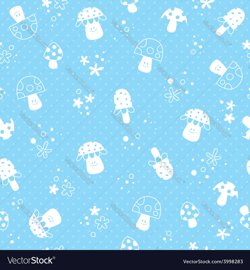 Flowers and mushrooms nature pastel baby pattern