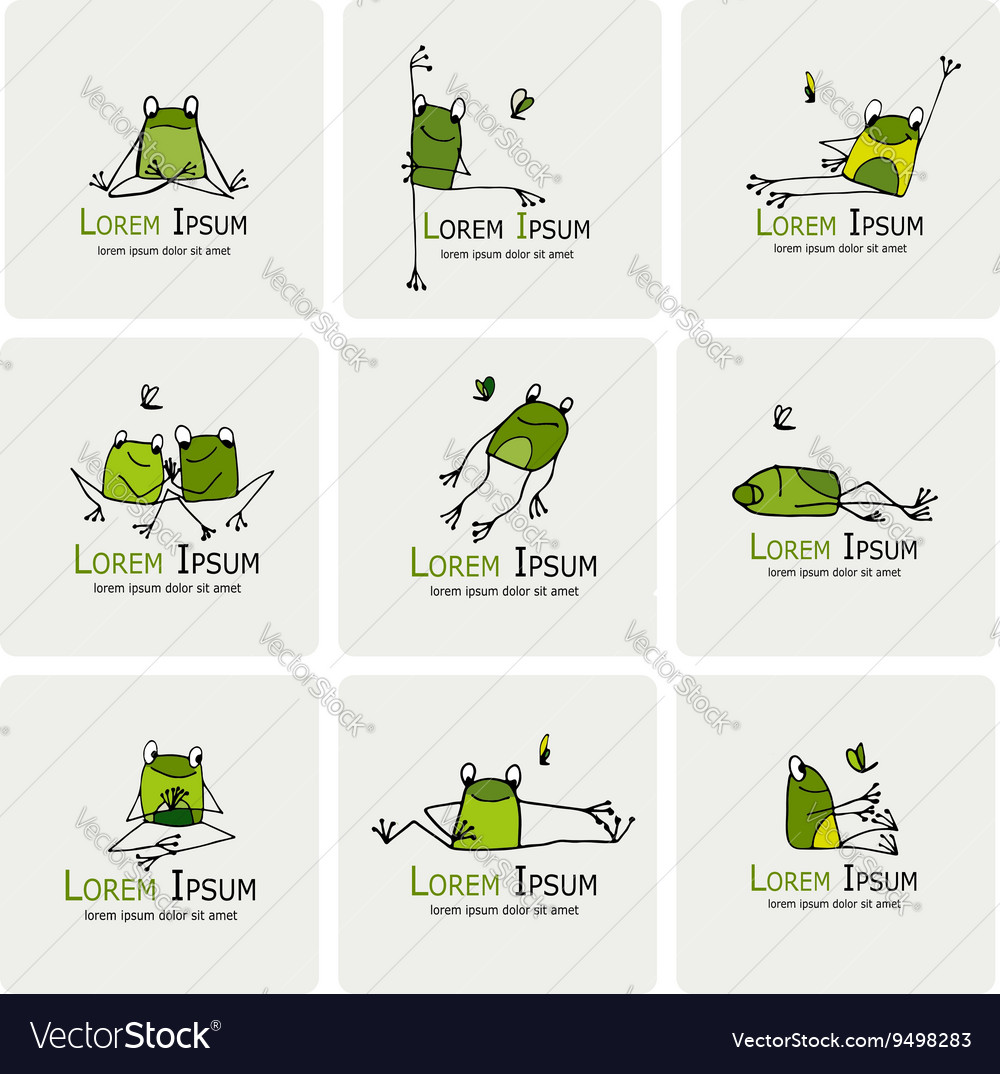 Funny frogs collection sketch for your design
