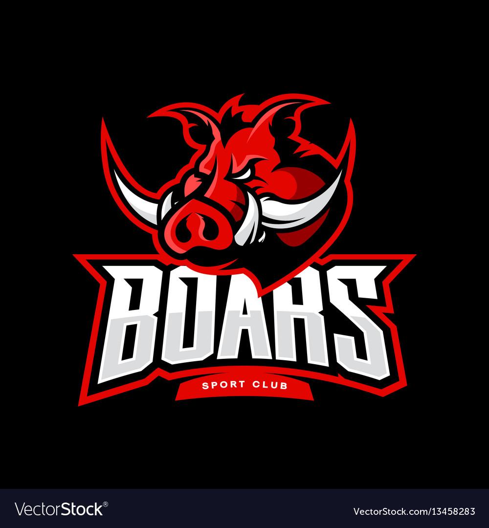 Furious boar sport club logo concept