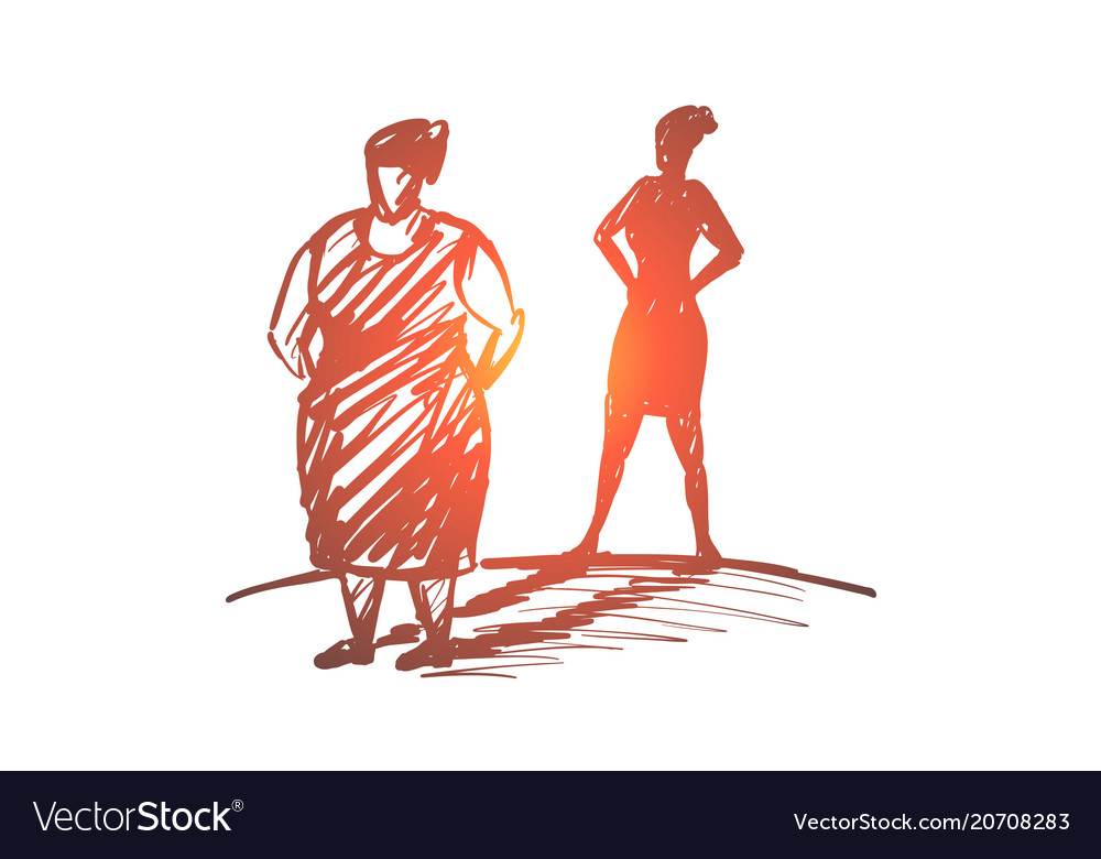 Hand drawn fat woman with her shadow as slim lady