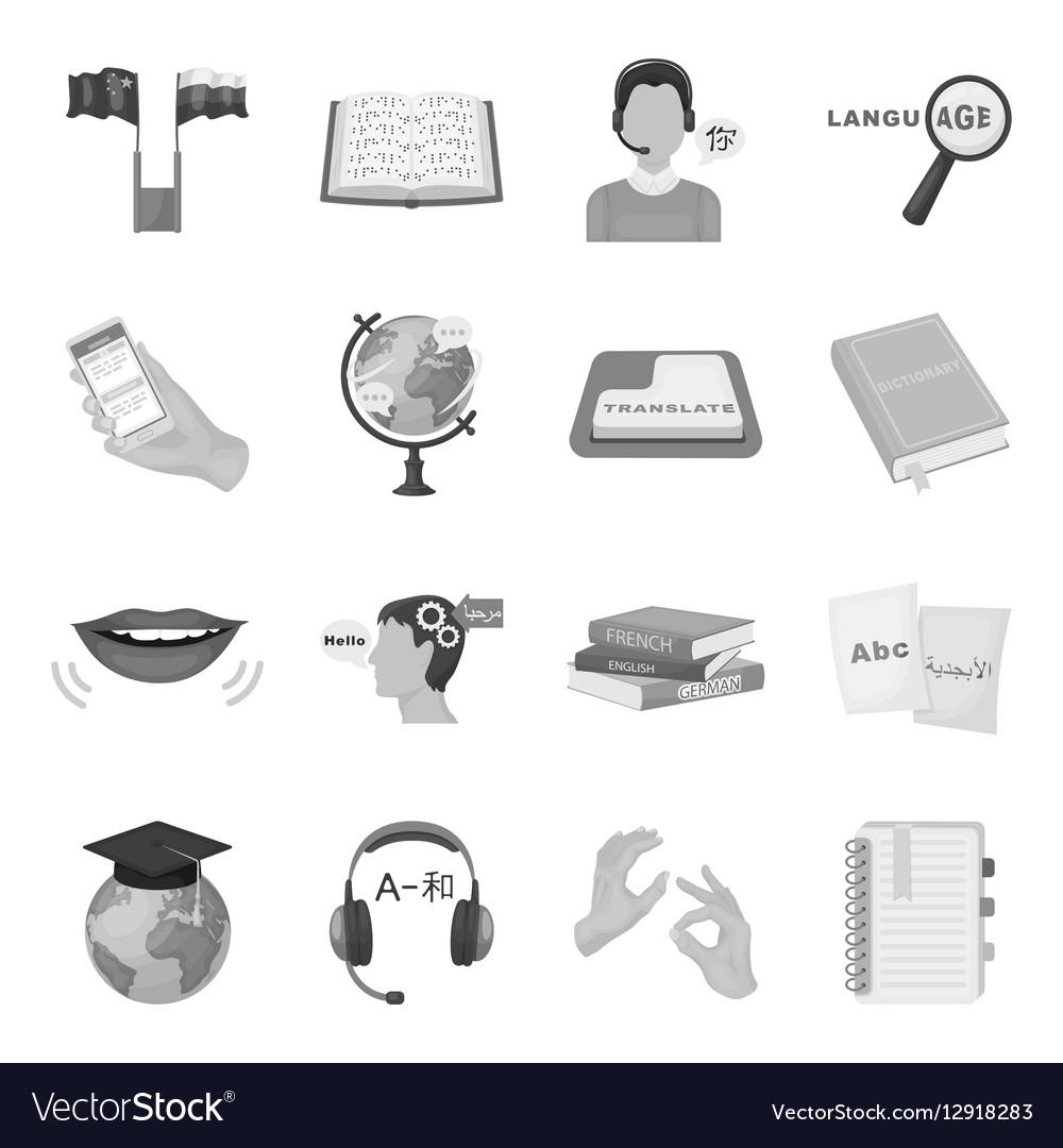 Interpreter and translator set icons in monochrome