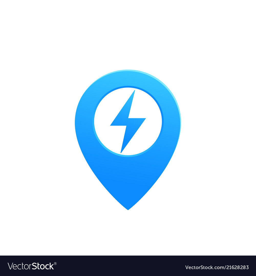 Map pointer pin icon with electricity symbol