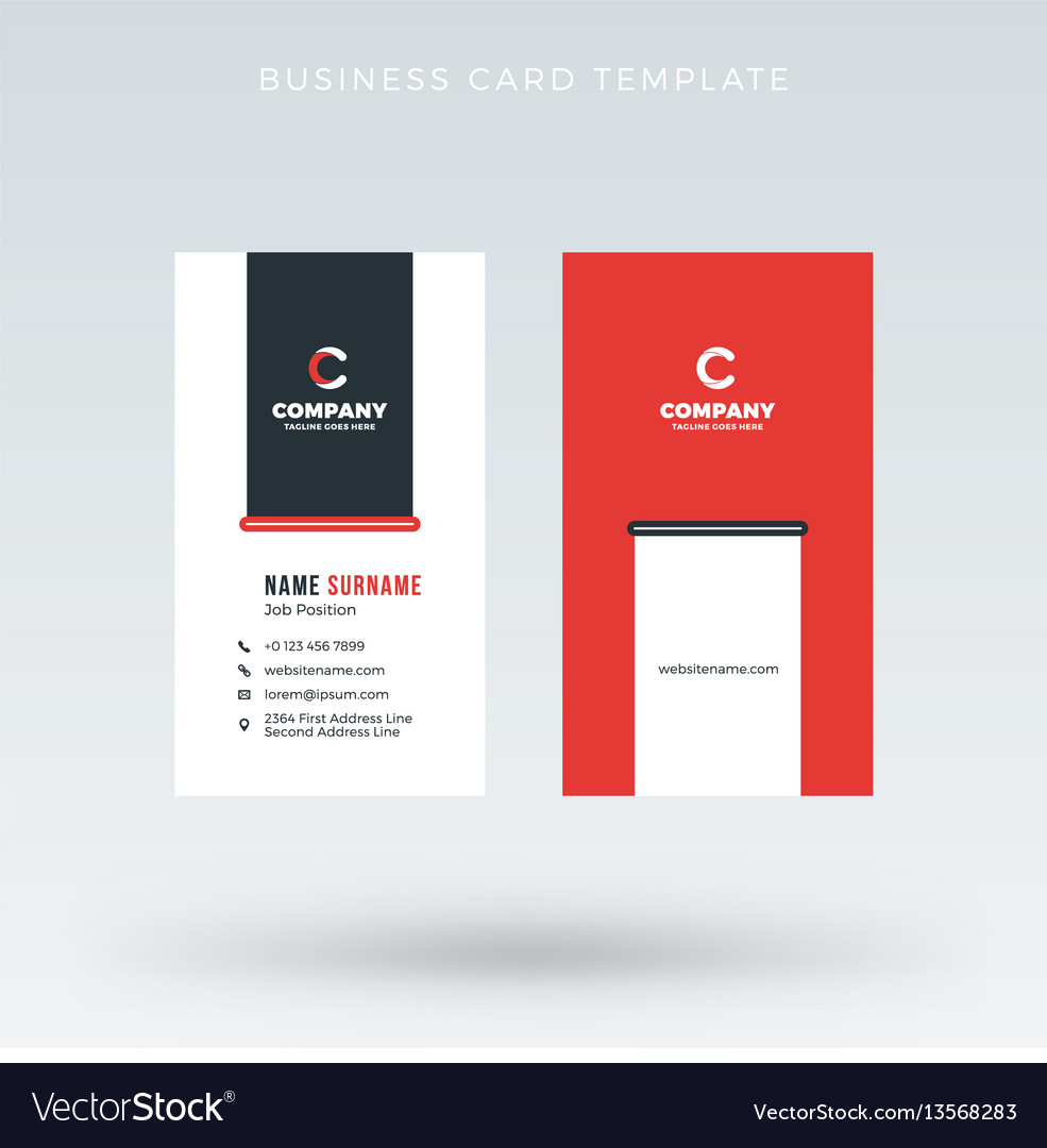 Modern creative vertical red business card vector image reheart Images