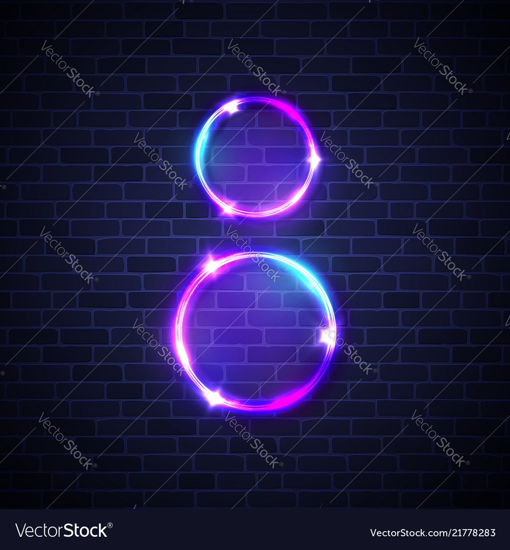 Neon frame light circles for womens day 8 march