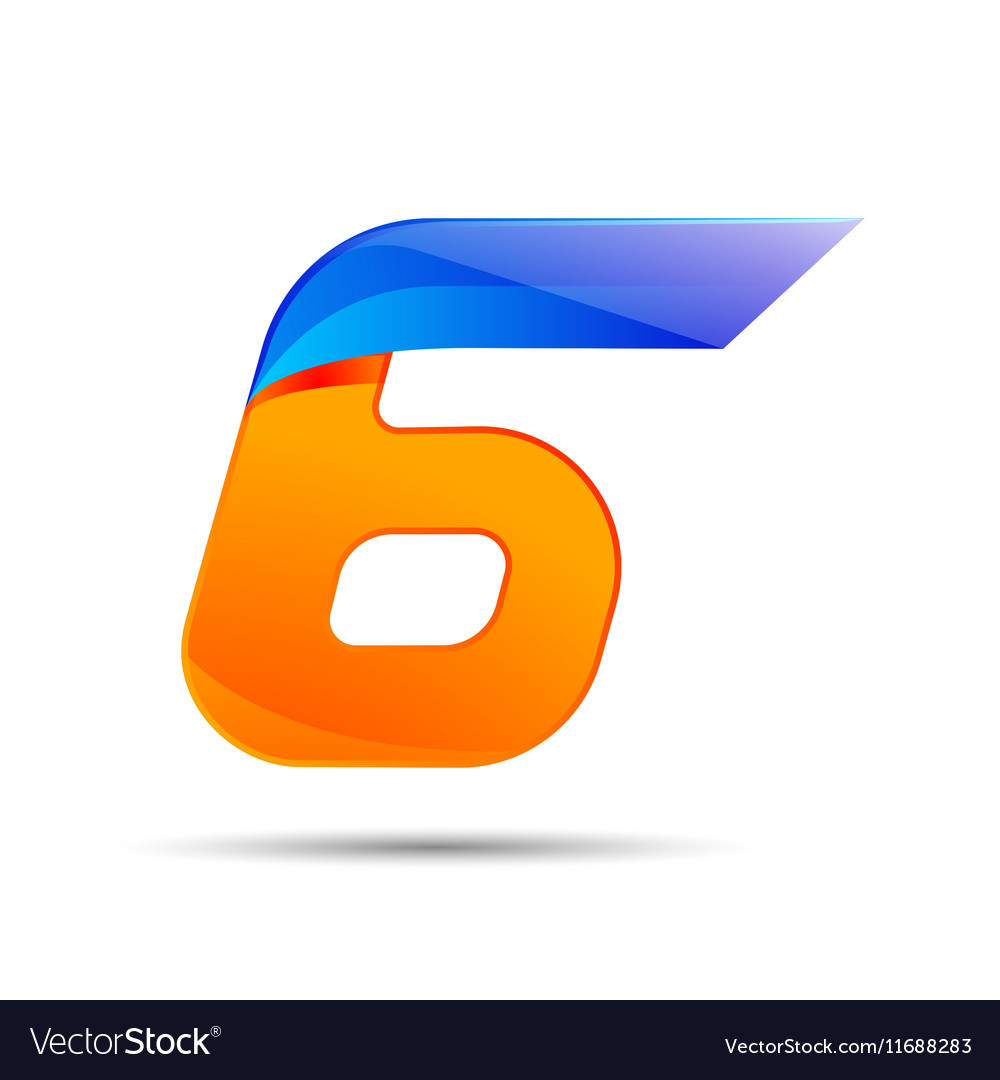 Number six 6 logo orange and blue color with fast