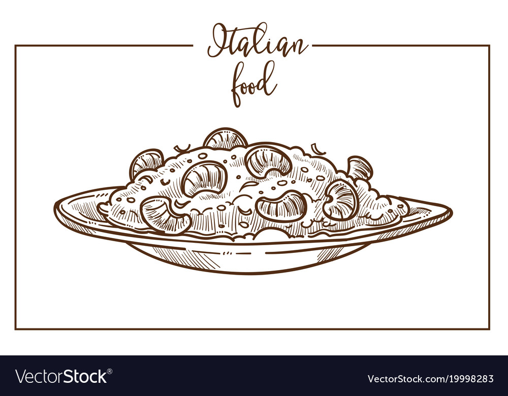 Risotto sketch icon for italian cuisine