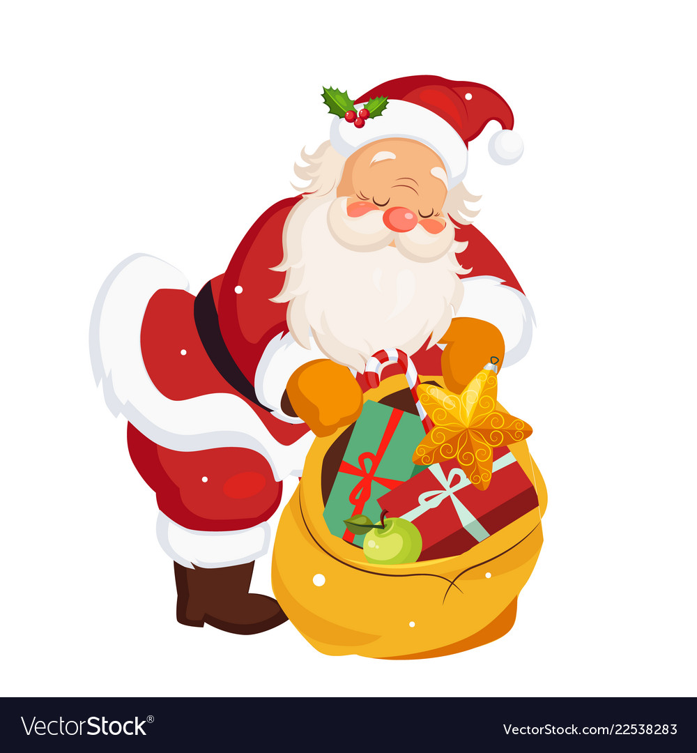 Santa claus holding a sack with toys christmas