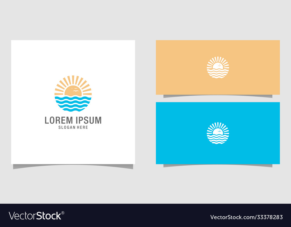 Summer beach logo design premium