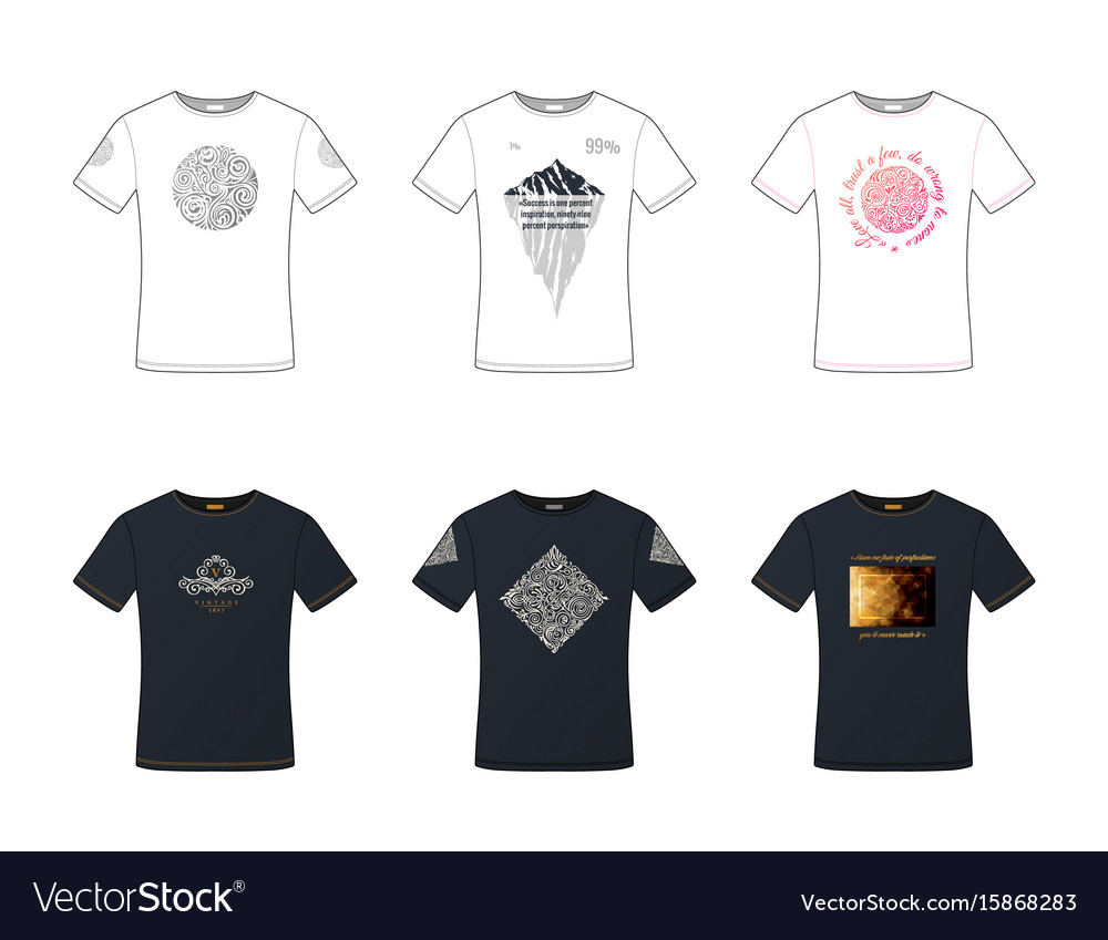 Unisex pattern t-shirts set white and black male vector image