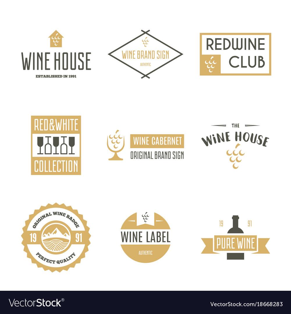 Wine logo templates bottle glass bunch of