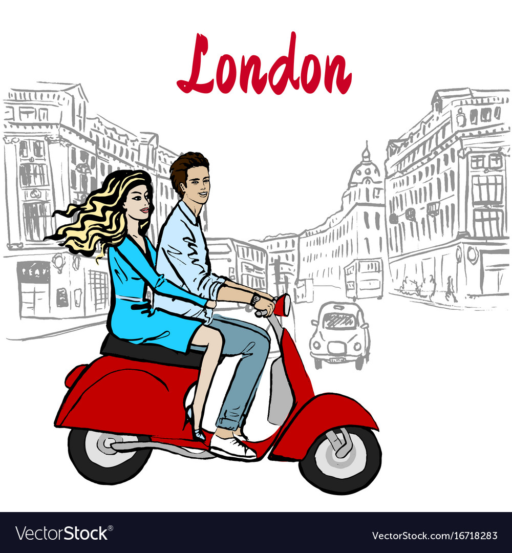 Woman and man driving scooter in london