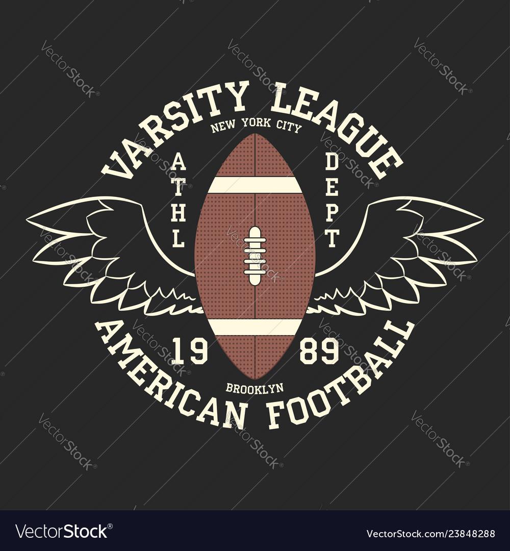 American football varsity league print logo