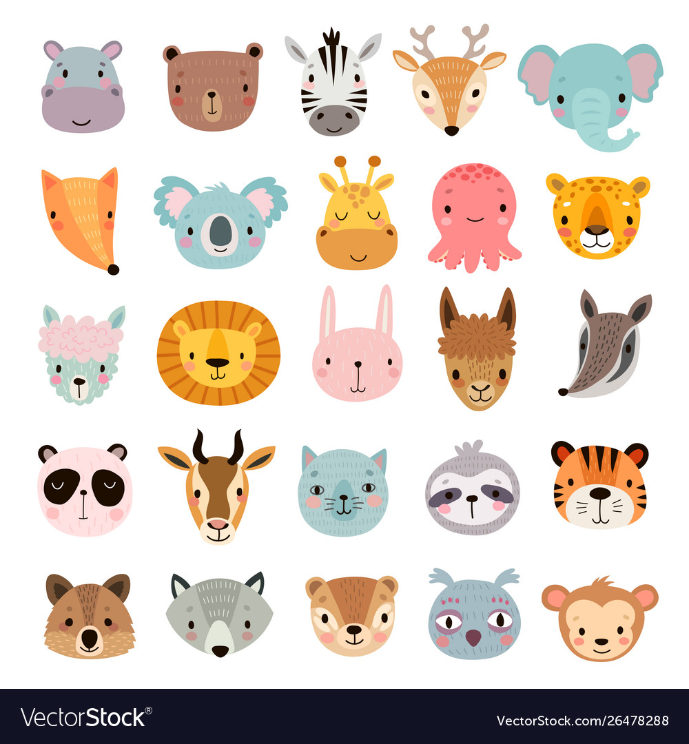 Big animal set cute faces hand drawn characters