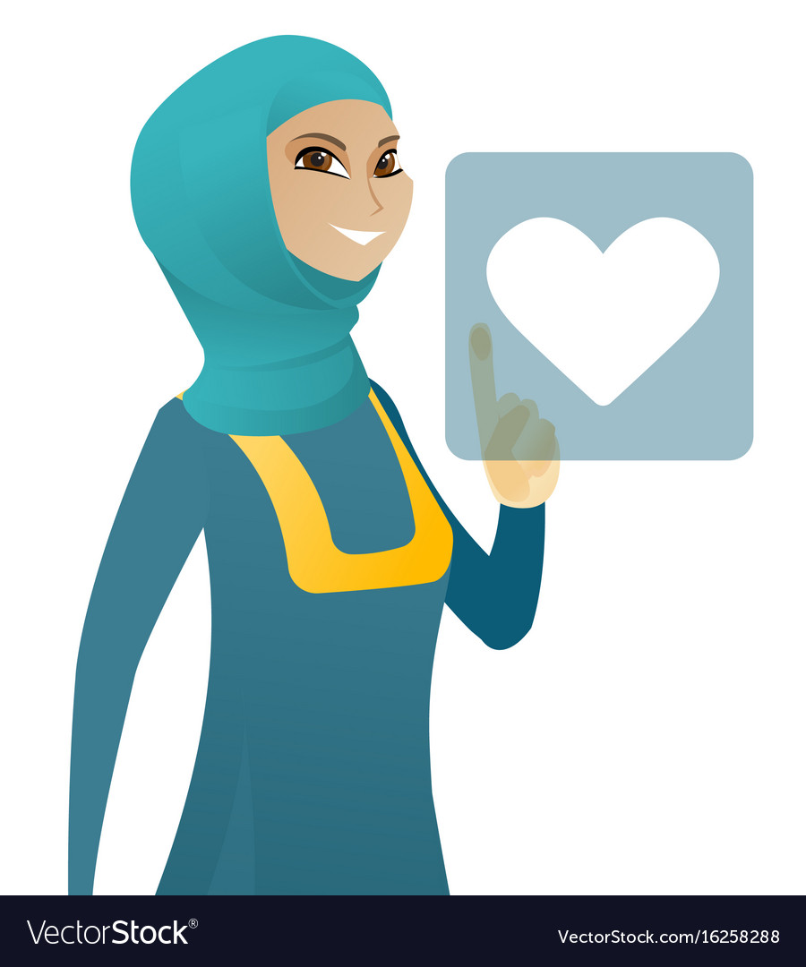 Business woman pressing web button with heart