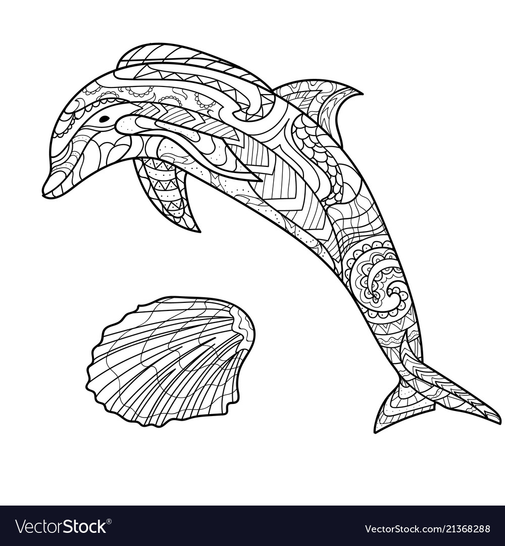 Dolphin pattern coloring book coloring page