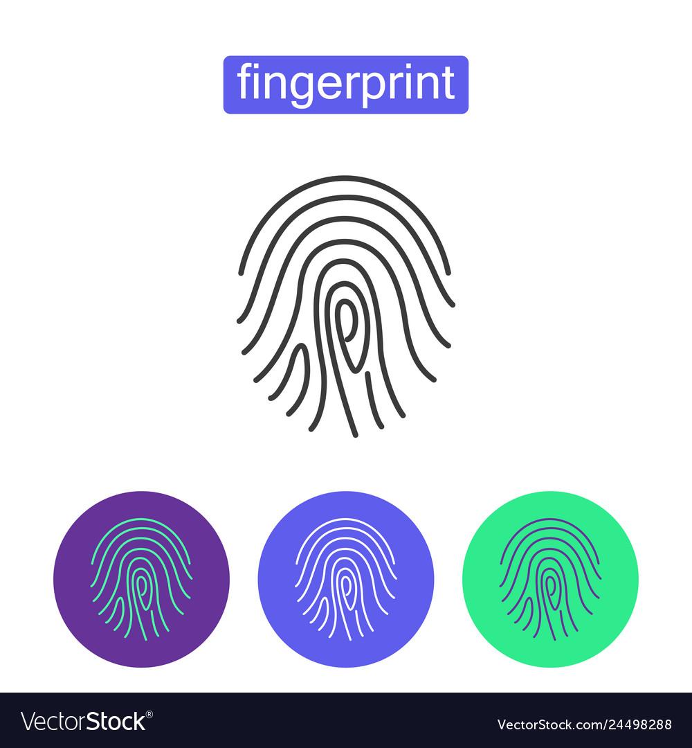 Fingerprint access outline icons set