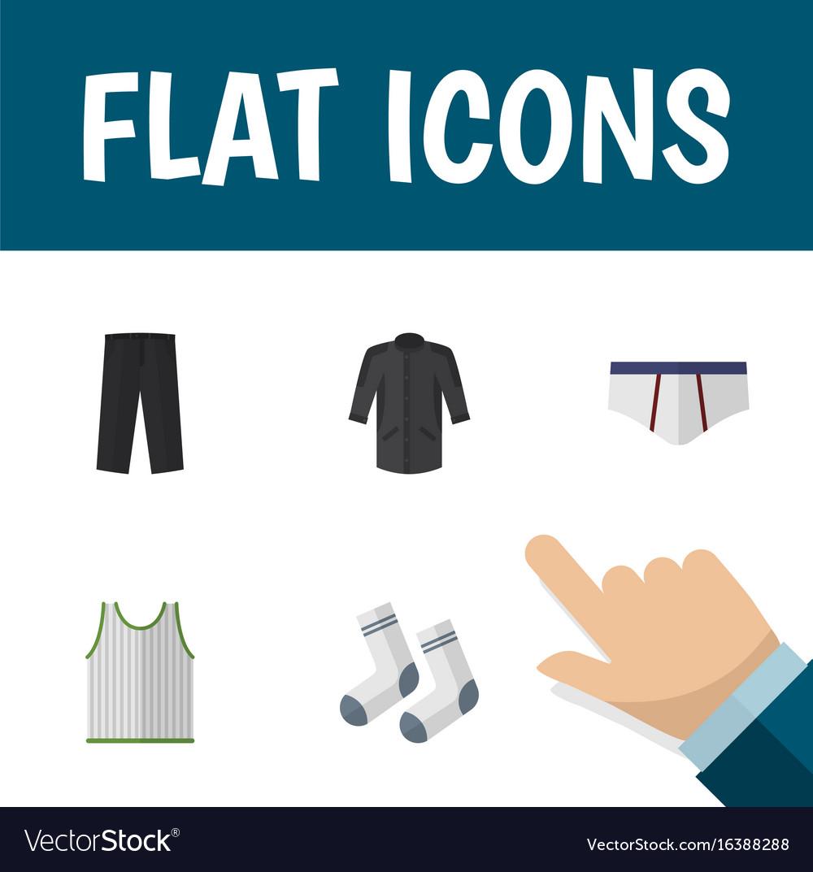 Flat icon clothes set of uniform foot textile vector image