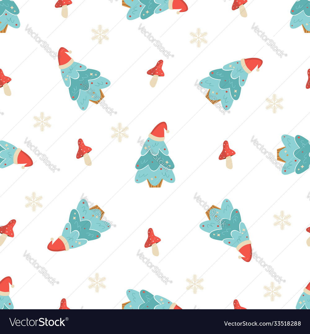 Holiday seamless pattern with christmas trees and