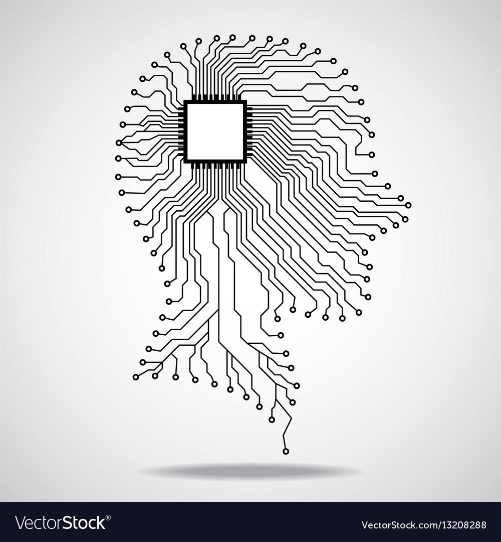 Human head cpu circuit board vector image