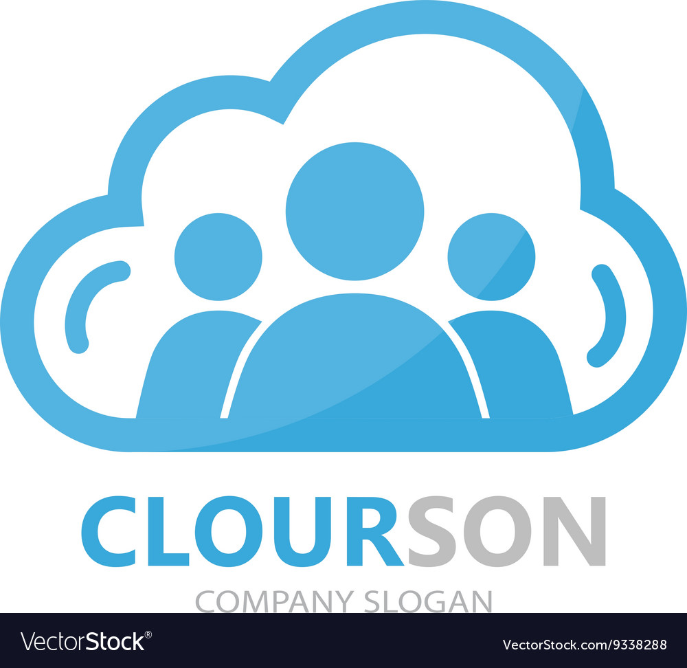 Logo combination of a cloud and people