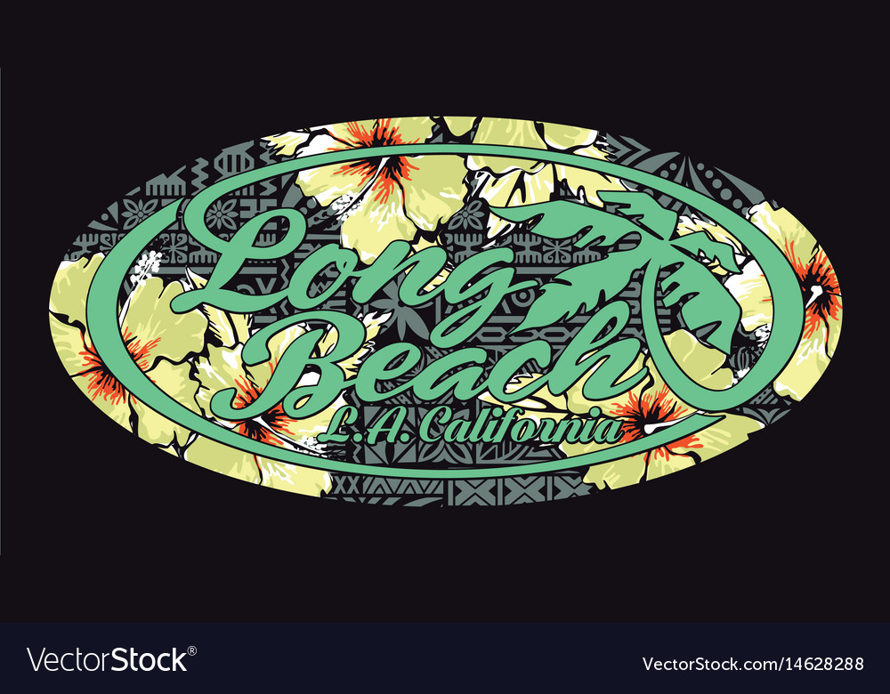 Long beach california artwork with hibiscuses vector image