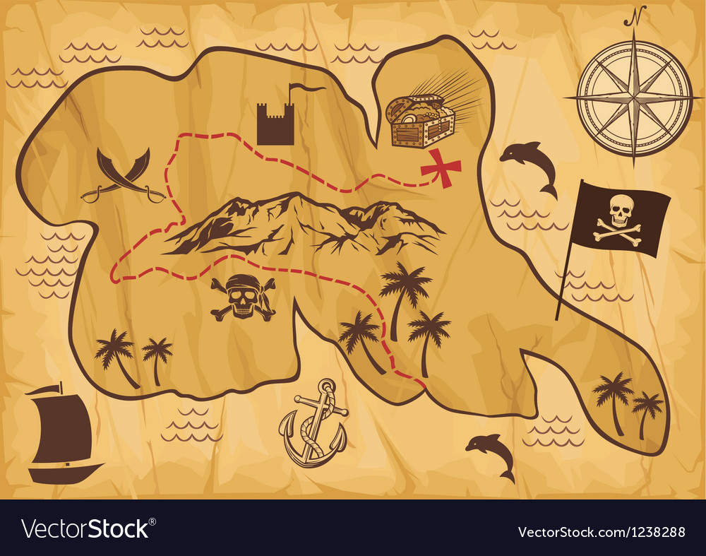 Map of treasure island vector image