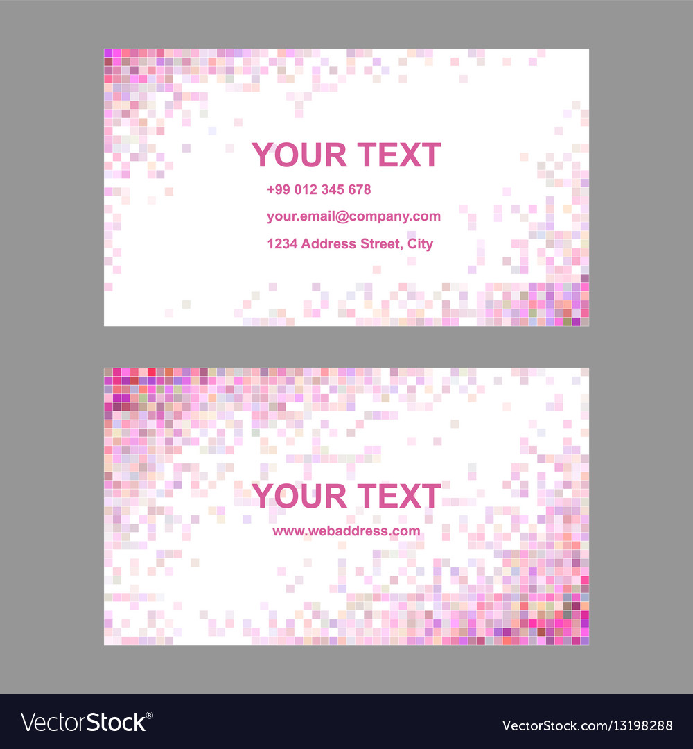 Pink colorful mosaic business card template set vector image cheaphphosting Gallery