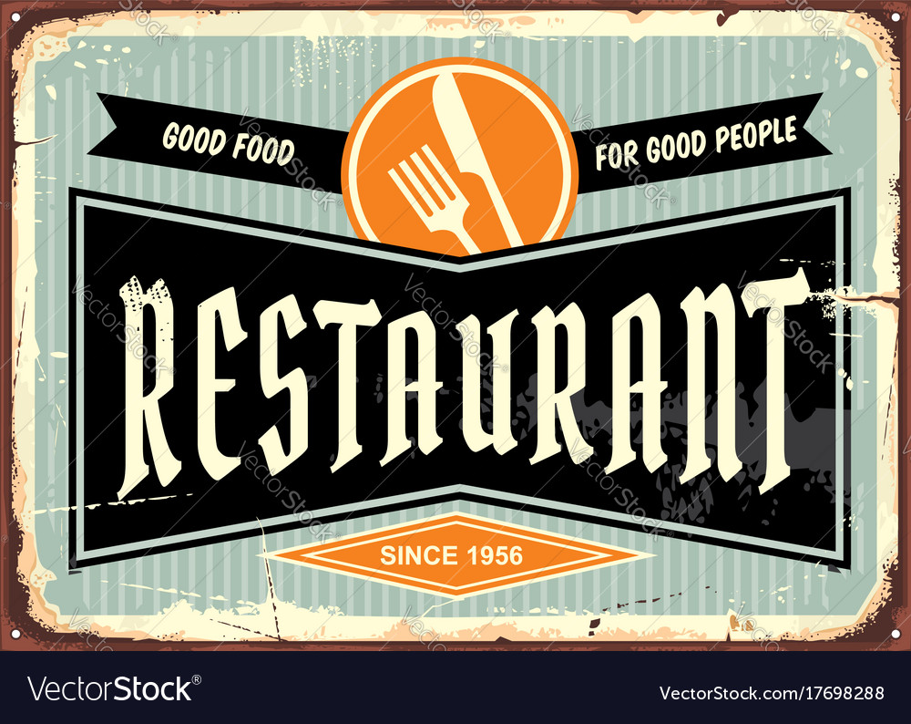 Restaurant sign with knife and fork symbol
