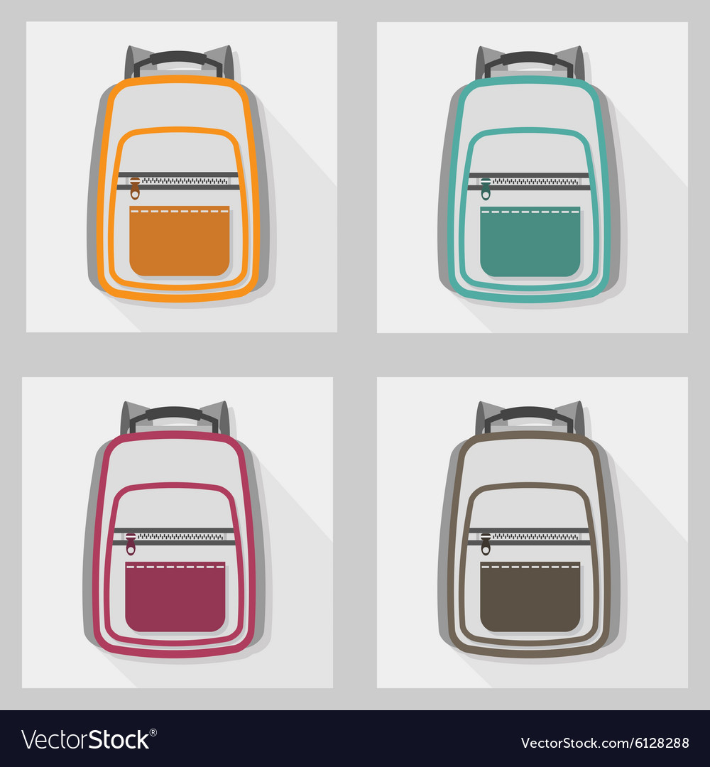 School bags and back packs icon set pattern