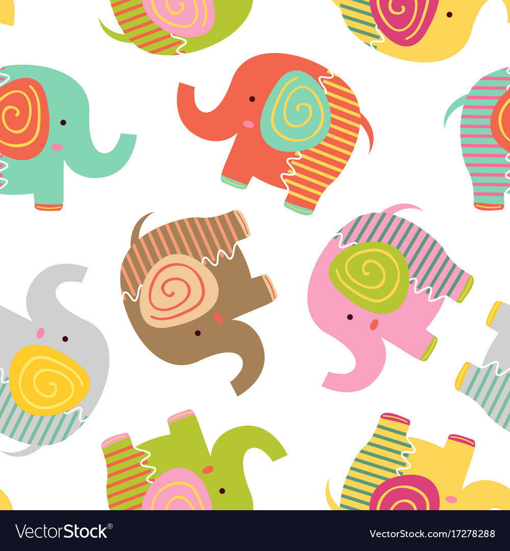Seamless pattern with baby elephant