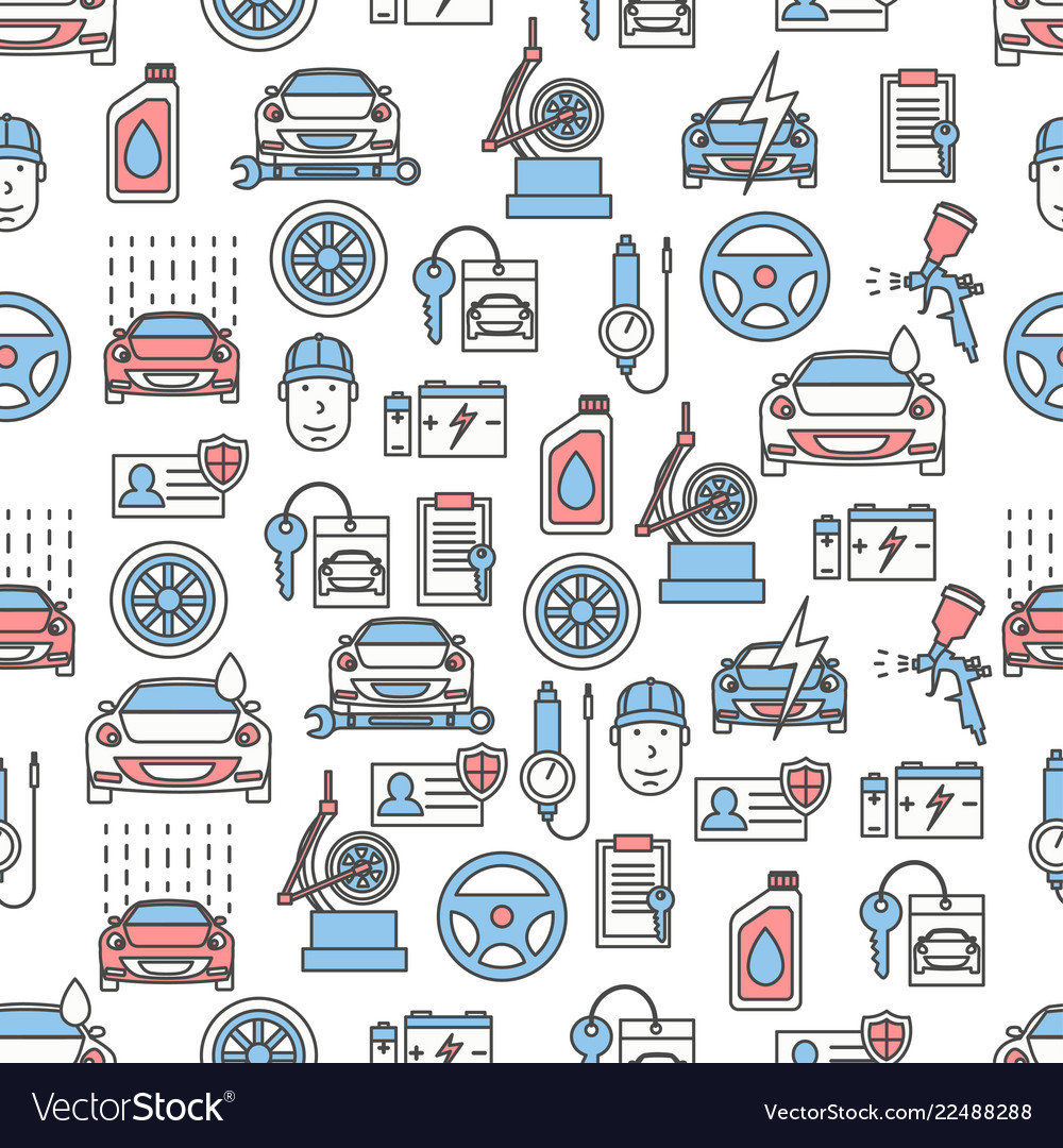 Thin line art car service seamless pattern