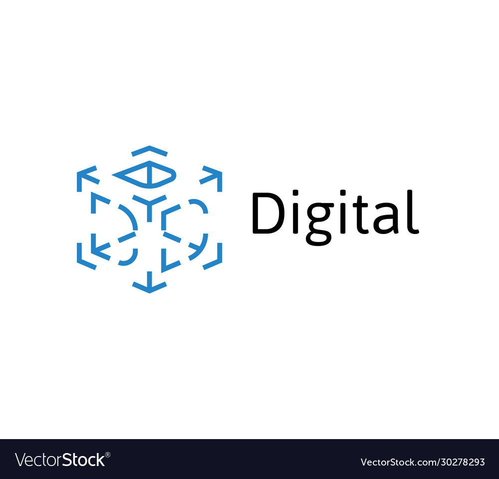3d cube icon dashes 3d letter d digital tech