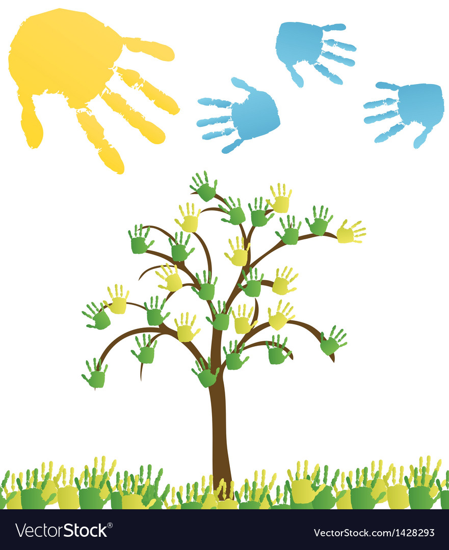 Abstract hand tree Background