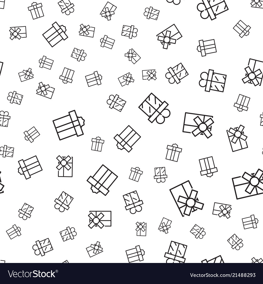 Abstract seamless pattern with outline gift