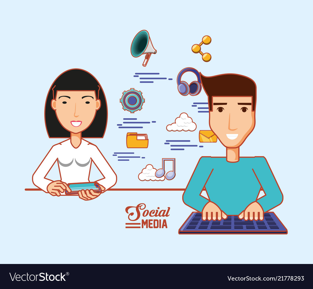 Asian woman using cellphone and man with keyboard