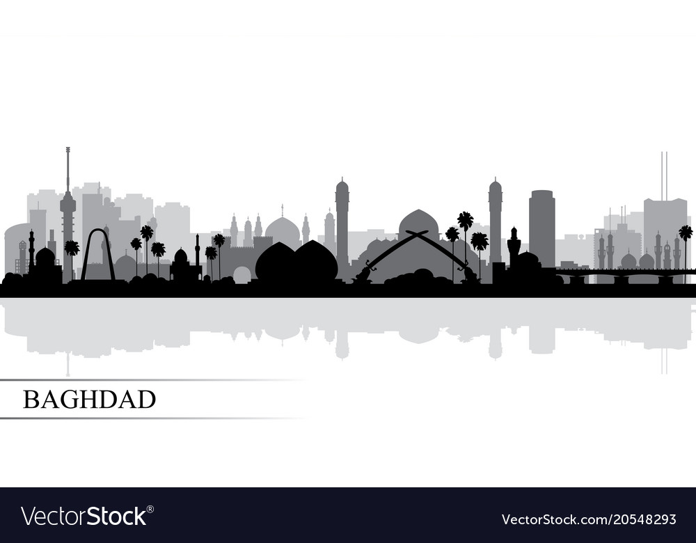 Baghdad city skyline silhouette background