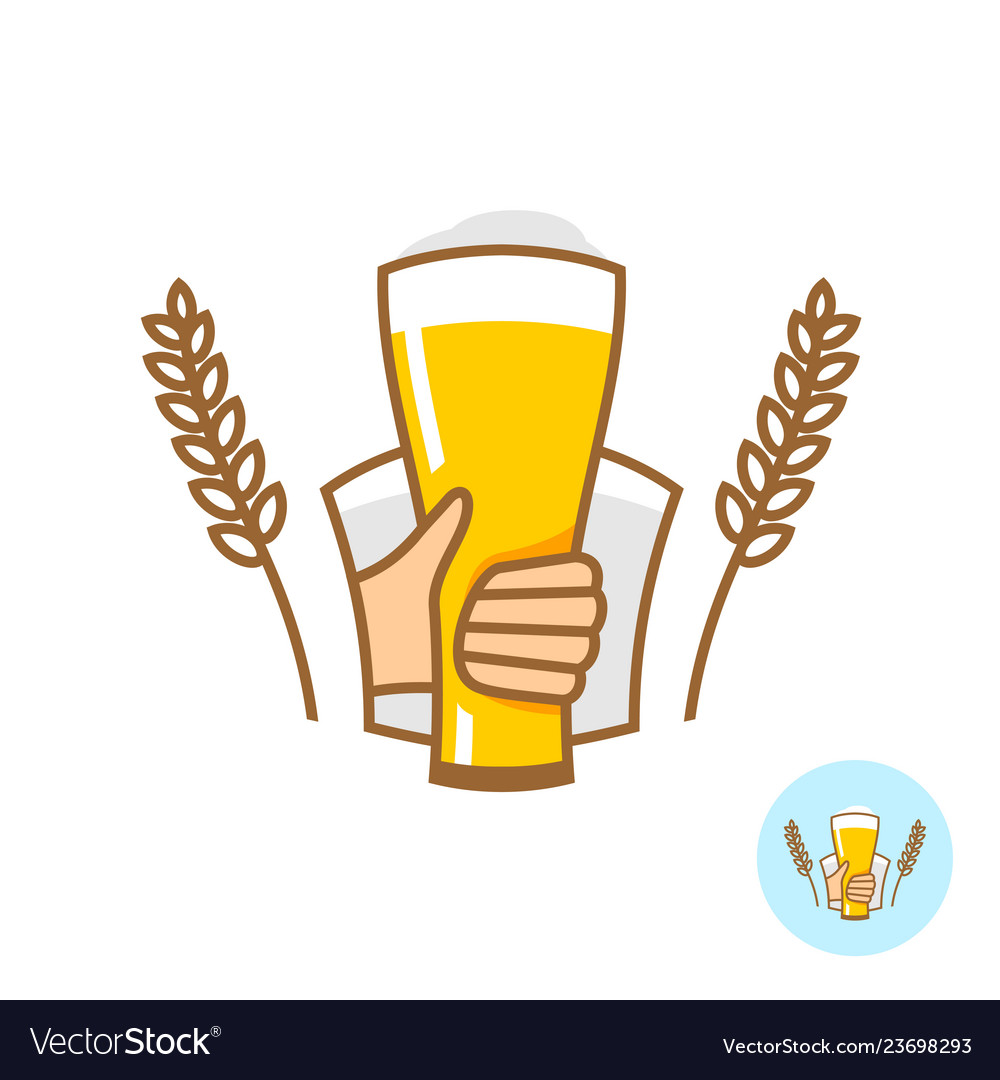 Beer glass with hand and wheat ears logo