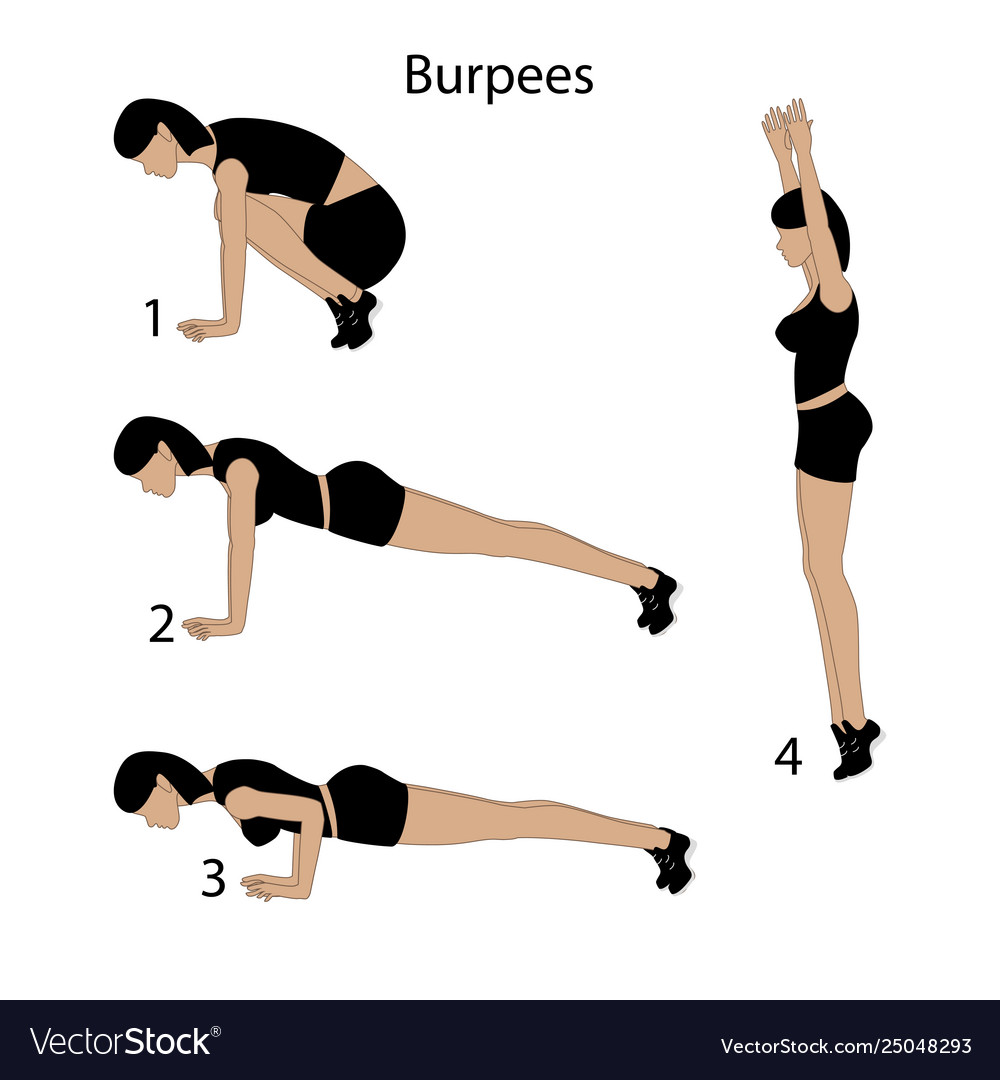 Burpees exercise Royalty Free Vector Image - VectorStock