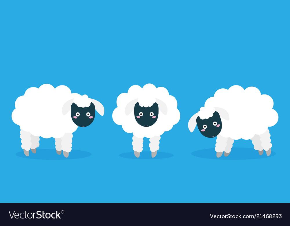 Cartoon flat sheep set image