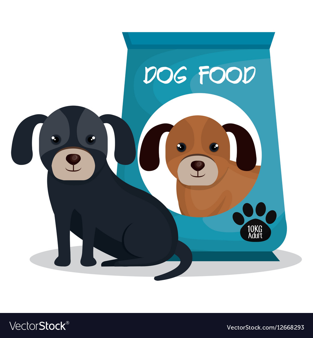 Cute dog with bag food mascot icon vector image