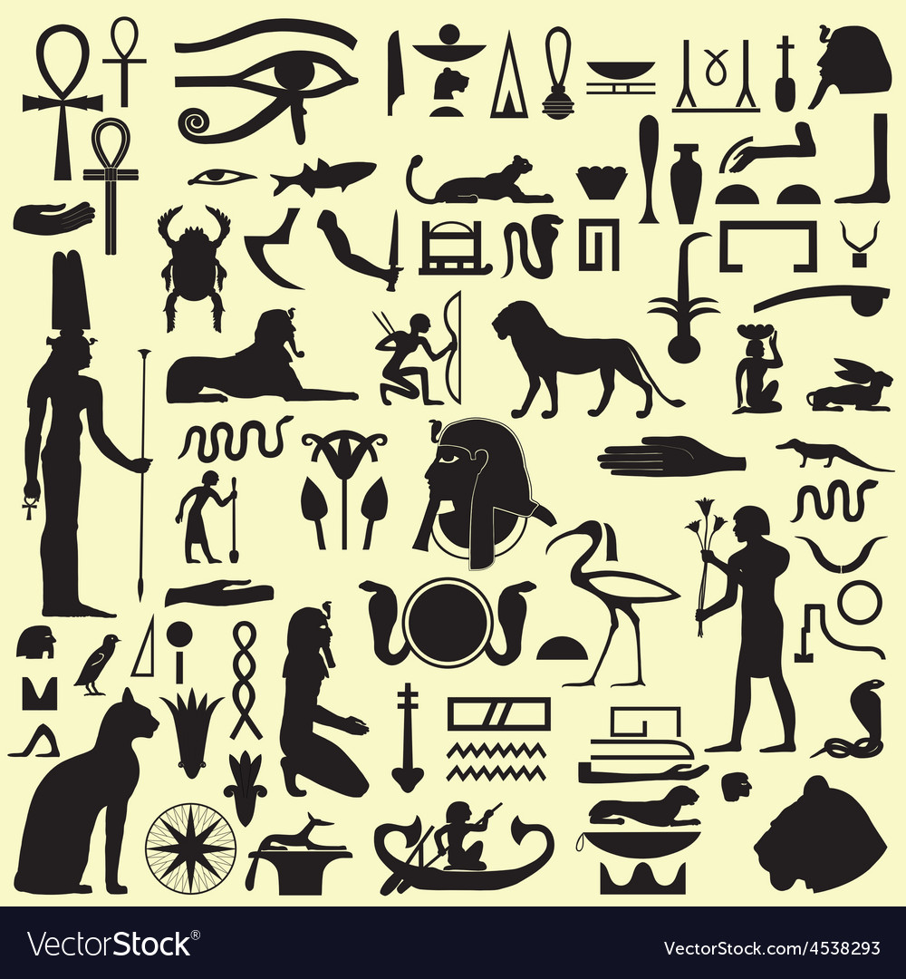 Egyptian Symbols And Signs Set 1 Royalty Free Vector Image
