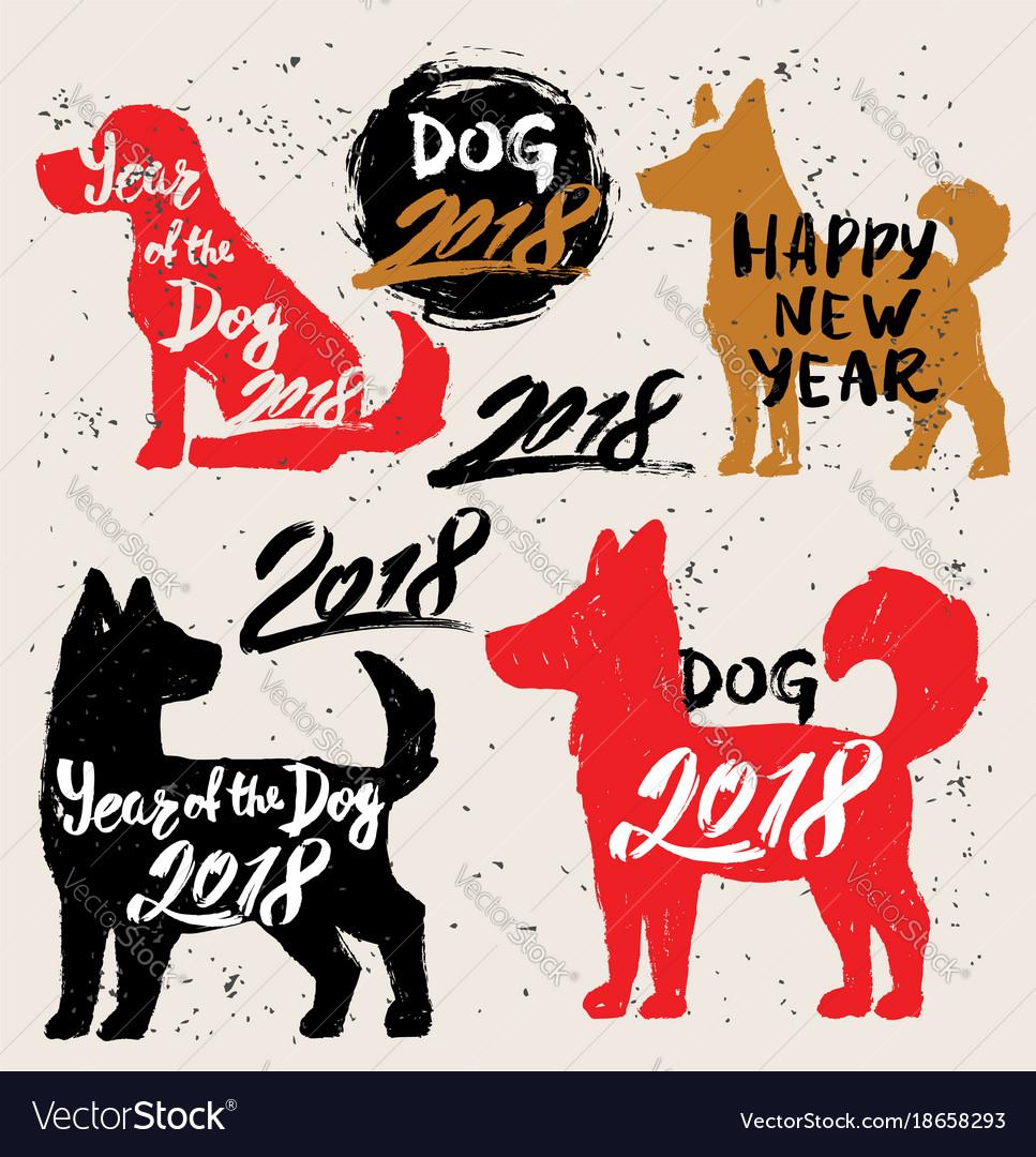 Happy new year 2018 dog chines new year