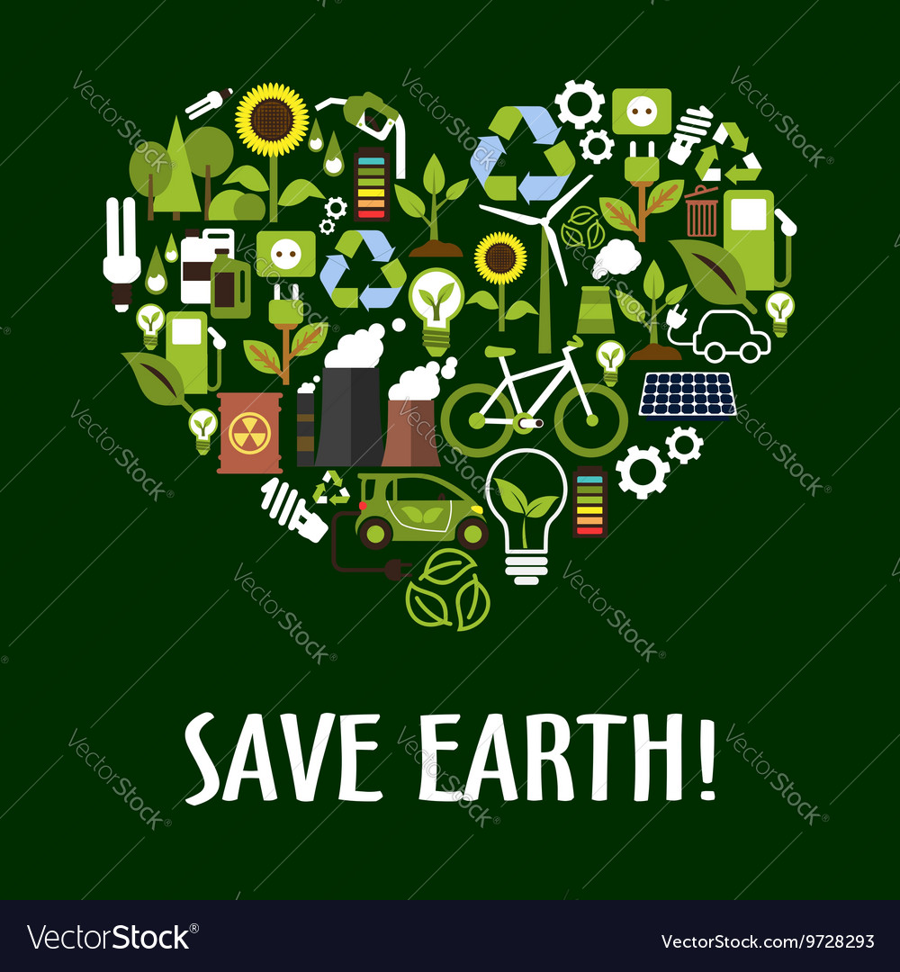 Heart with ecology saving energy recycling icons